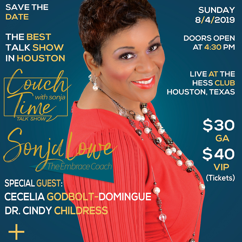 """""""Couch Time with Sonja"""" Talk Show - Live at The Hess Club (Houston)"""