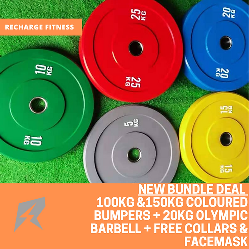 Coloured bumper and Olympic barbell bundle | Sets | Mid March Dispatch