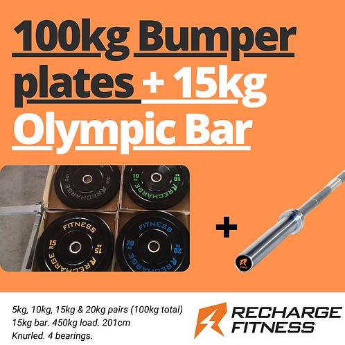 100kg RF bumper plate and 15kg barbell set