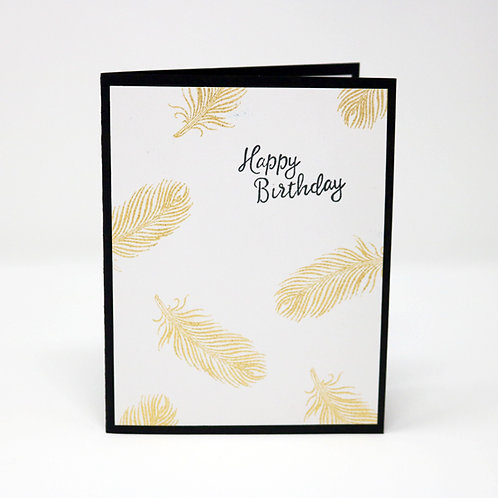 Gold Feather Birthday Greeting Card