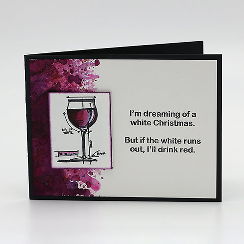 White Wine Christmas Greeting Card