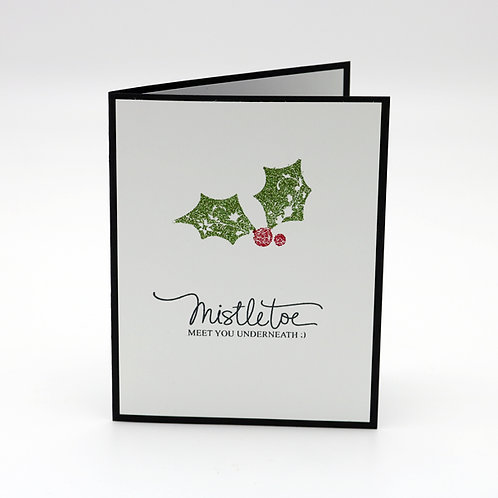 Meet Under the Mistletoe Holiday Greeting Card