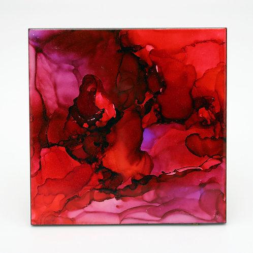 Crimson Chaos I Ceramic Trivet