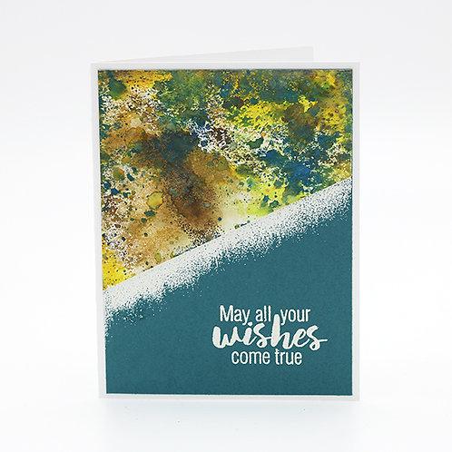 Grunge Birthday (Teal/Yellow) Greeting Card