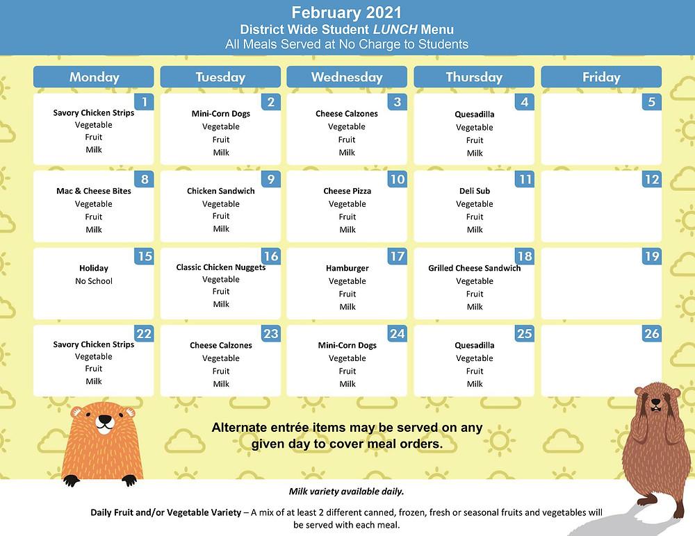 February 2021 Lunch Menu
