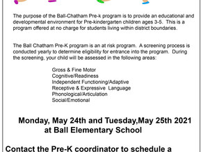 Pre-K Screening Dates Set for May 24-25
