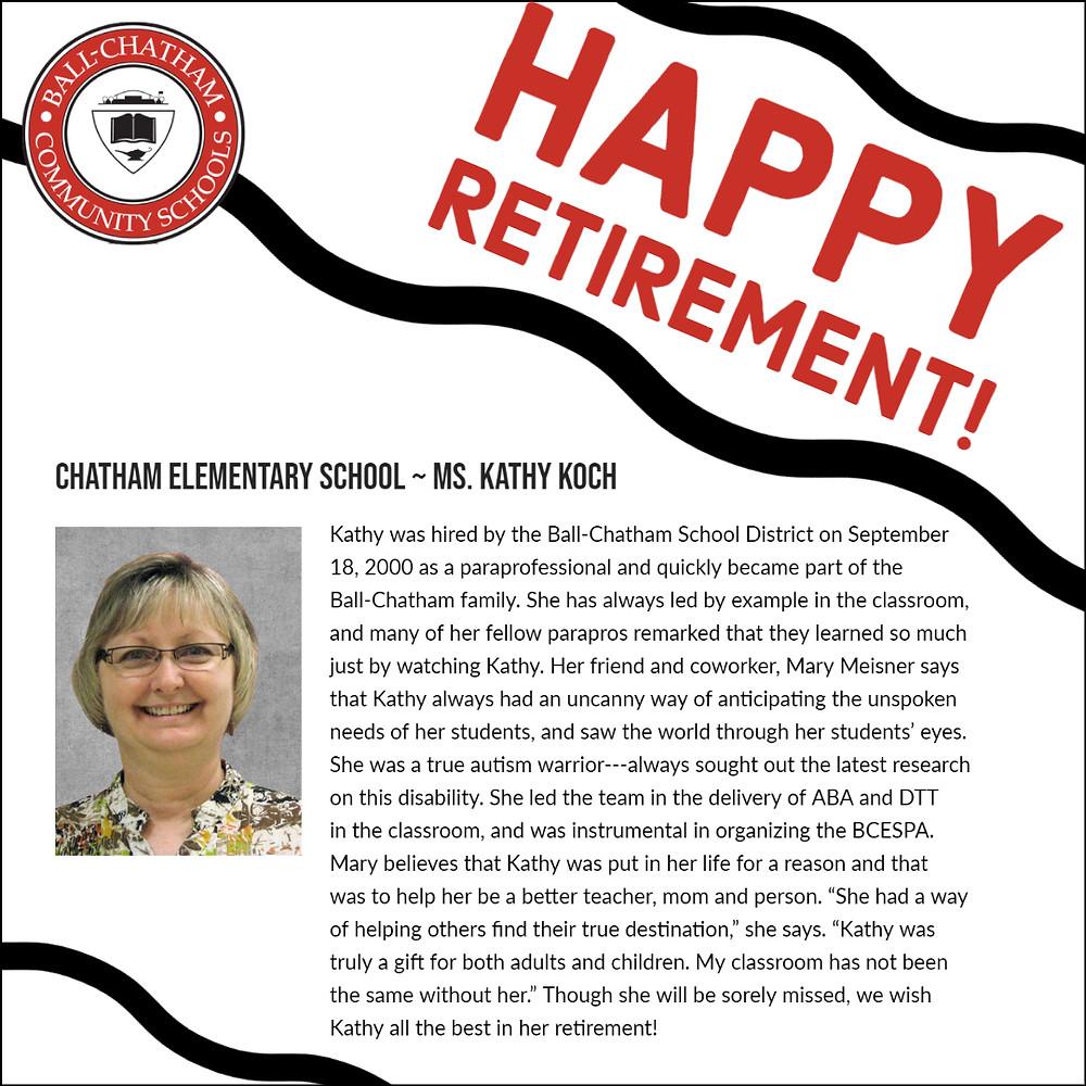 Kathy Koch retirement graphic