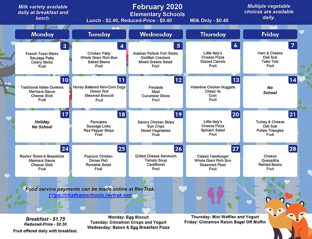 February Menu for BES/CES/GES