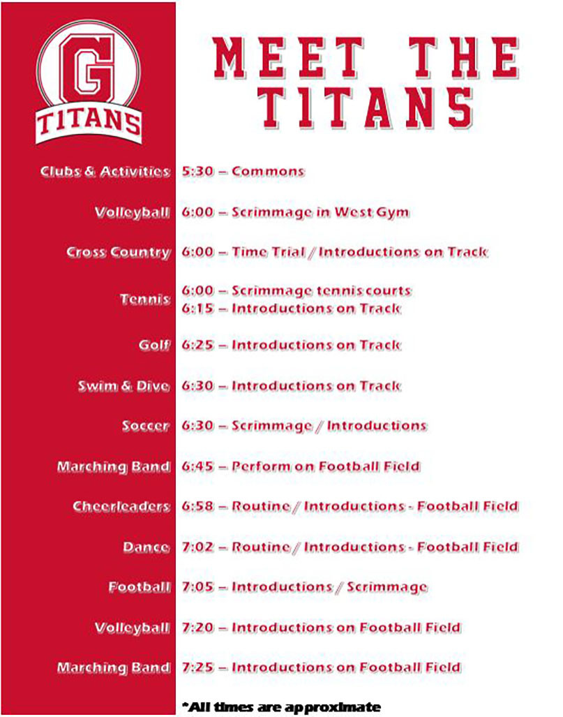 Meet the Titans Schedule of Events