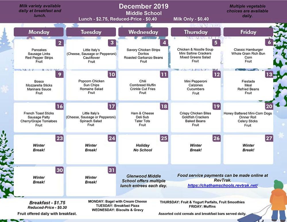December Menu for GMS