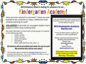 Volunteers Needed for Kindergarten Academy at BES