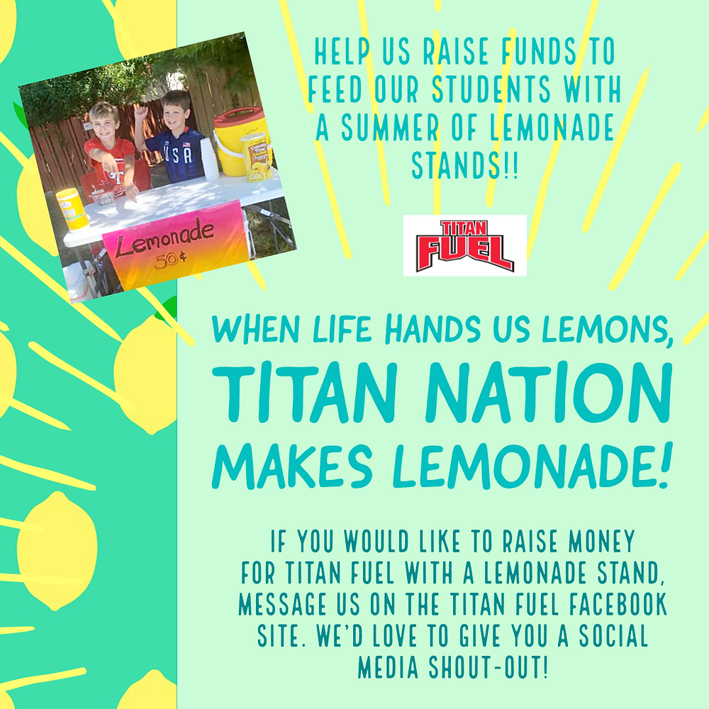 Titan Fuel Lemonade Stand fundraiser flyer