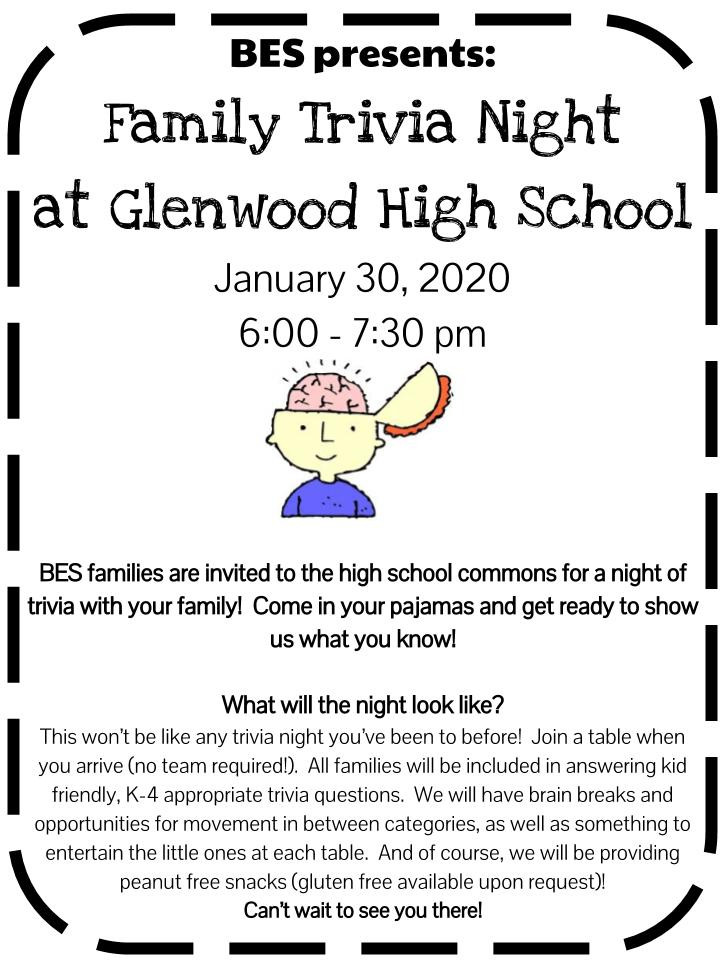 BES Family Trivia Night Jan. 30 at GHS 6-7:30 p.m.