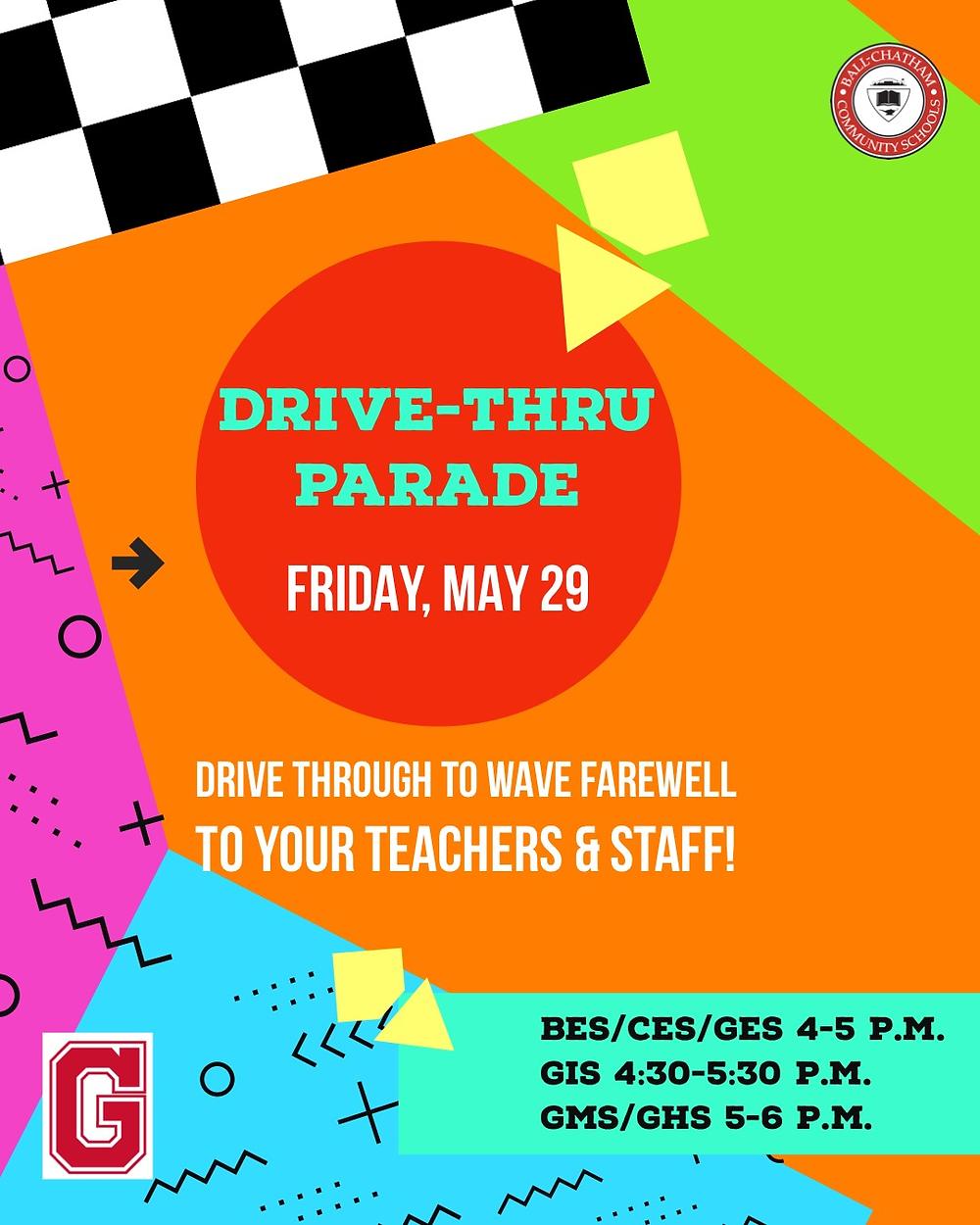 Drive-Thru Farewell Parade flyer