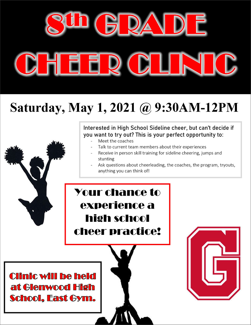 8th grade cheer clinic flyer