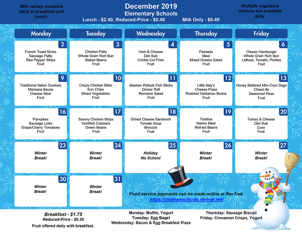 December Menu for BES/CES/GES