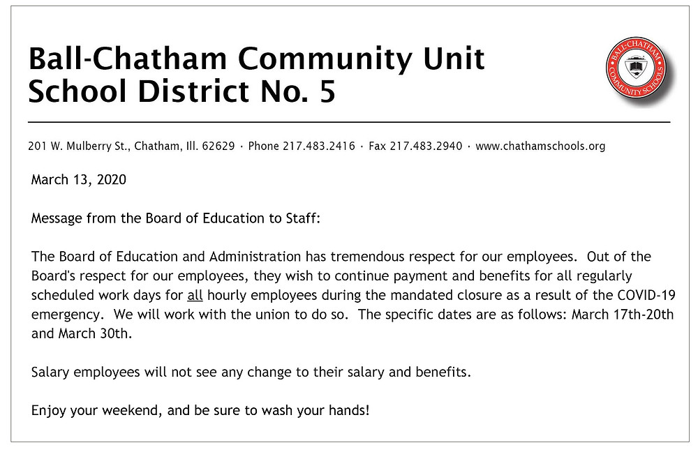Message to Staff from the BOE