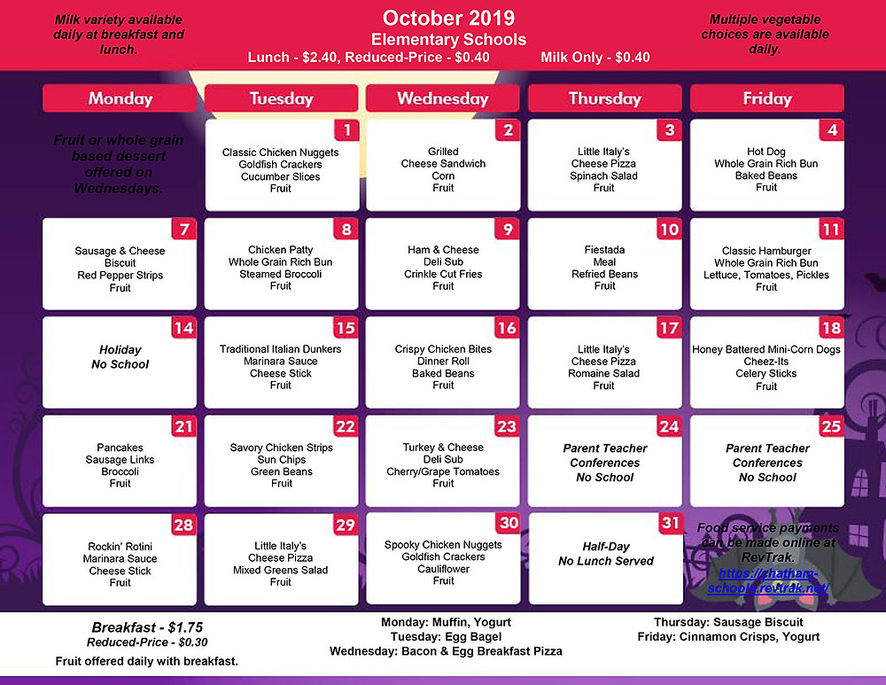 Elementary School October Menu