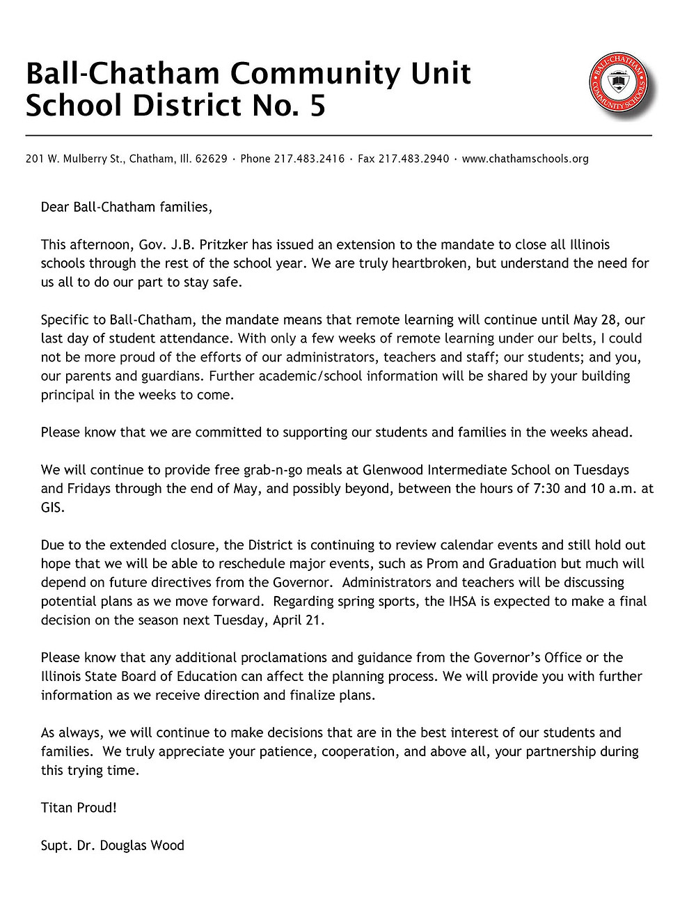 April 17, 2020 Message from Supt. Dr. Wood