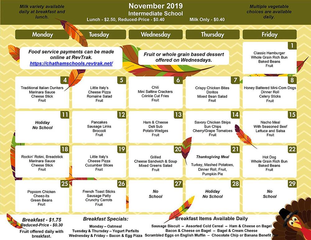 GIS November Menu