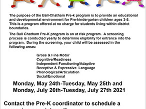 Pre-K Screening Dates for Spring and Summer