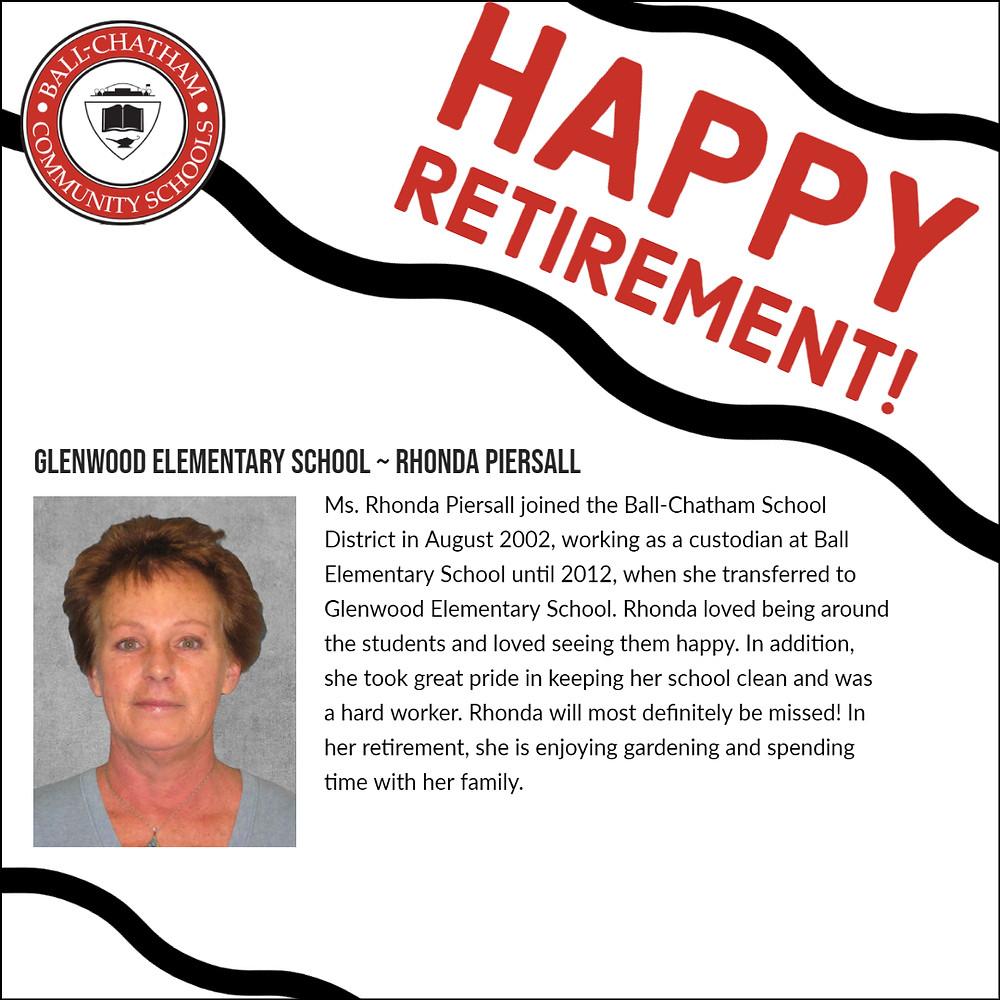 Rhonda Piersall retirement honoree