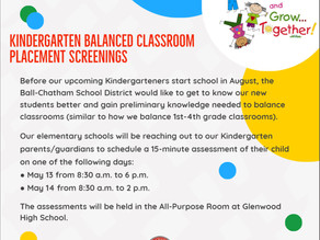 For Soon-to-be Kindergarteners: Balanced Classroom Placement Screenings Coming in May