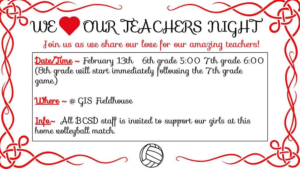 GMS Volleyball Teacher Appreciation Night ad
