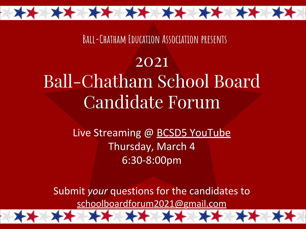 School Board Candidate Forum flyer
