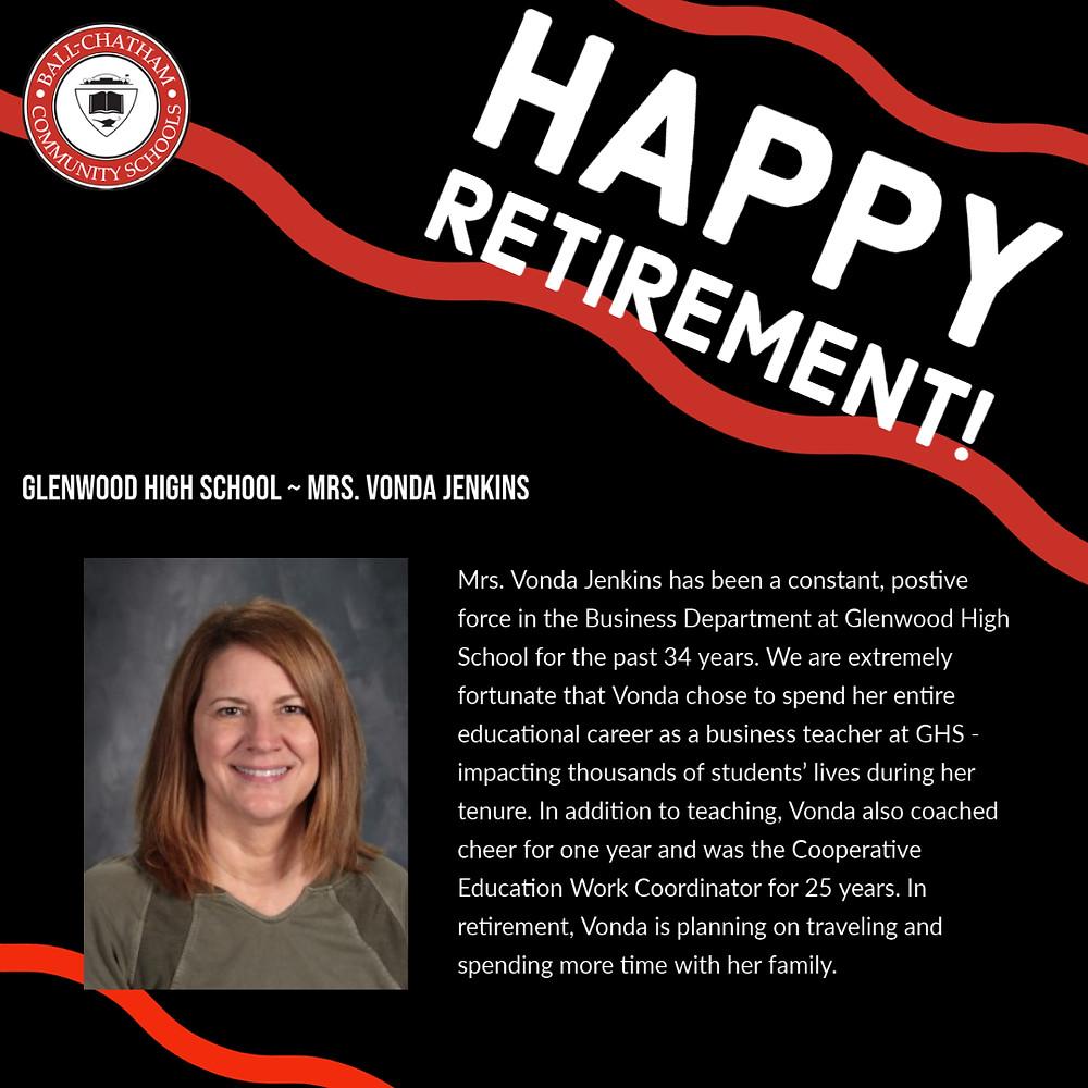 Vonda Jenkins retirement graphic