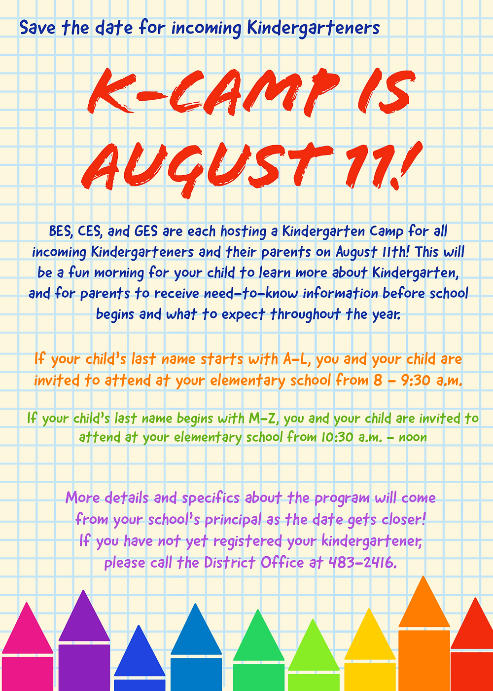 K-Camp event for upcoming Kindergarteners and their parents