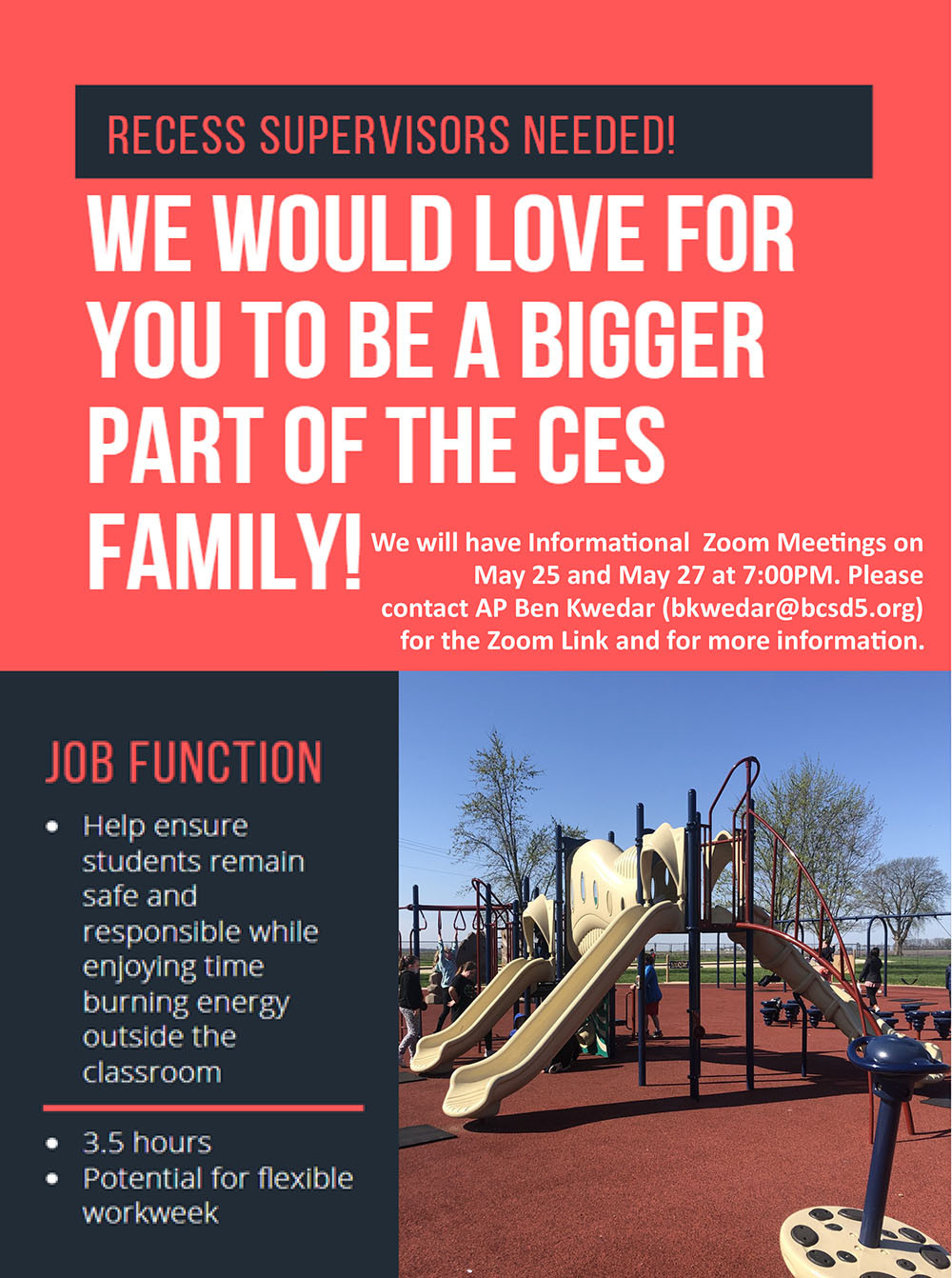 CES is looking for Recess Supervisors flyer