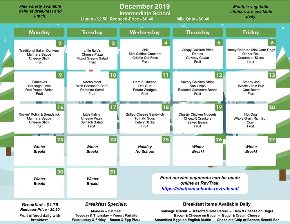 December Menu for GIS