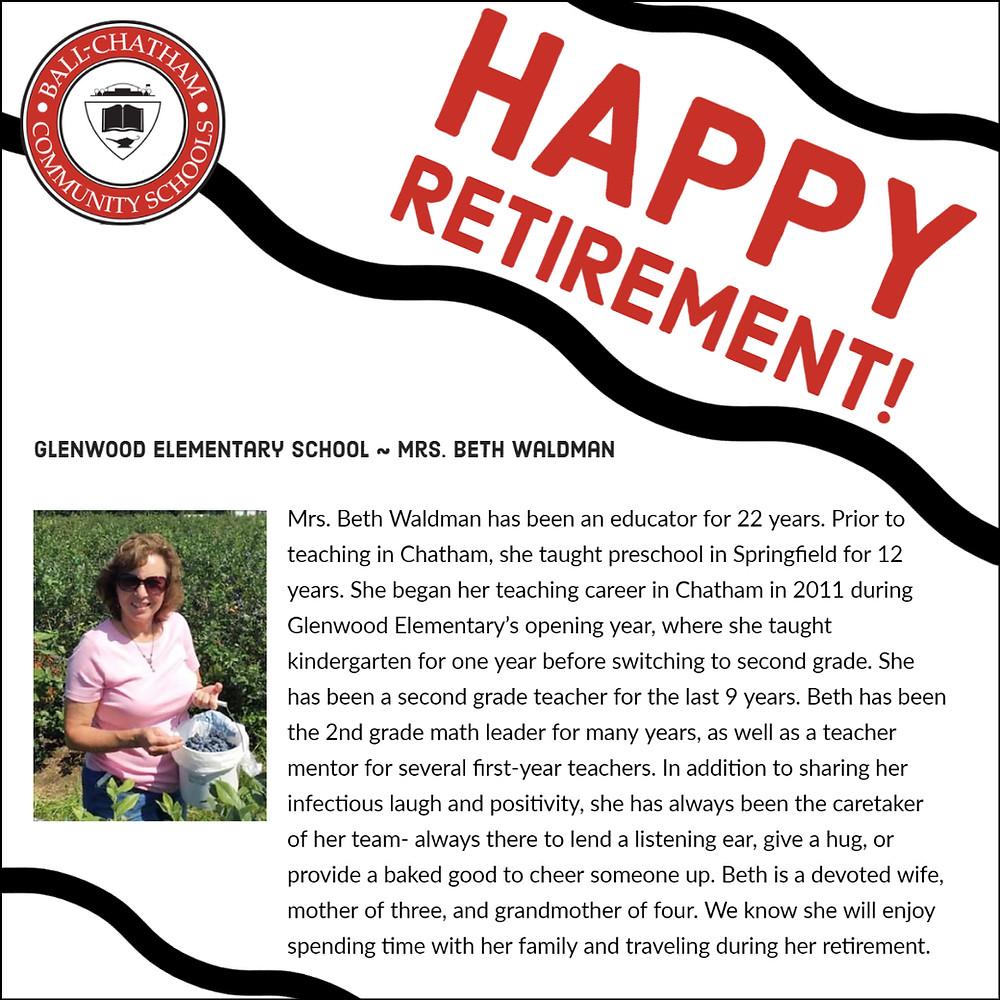 Beth Waldman's retirement graphic