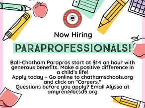 Paraprofessionals Needed for the 2021-22 School Year!
