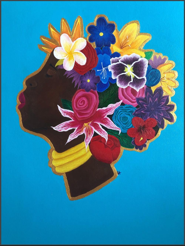 "Victoria Alamu's acrylic, entitled ""Flower Girl"""