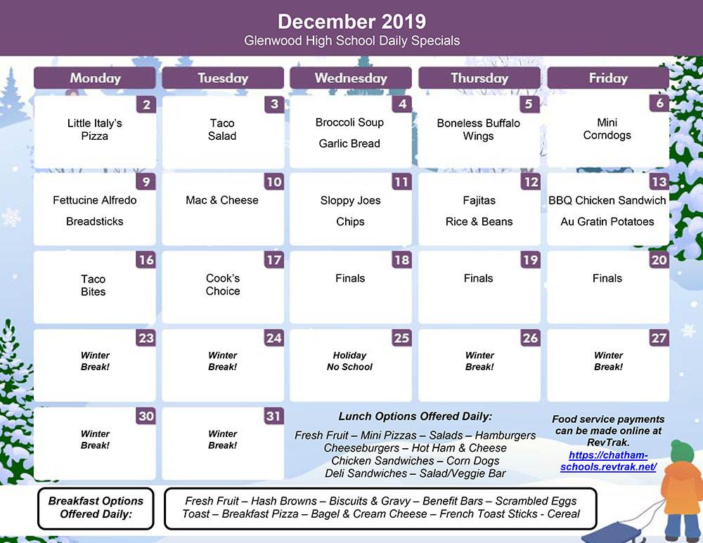 December Menu for GHS