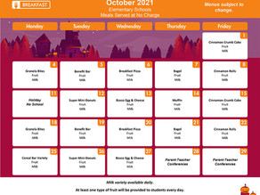 October Breakfast/Lunch Menus for BES/CES/GES