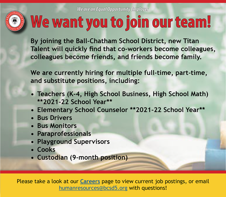 Employment ad for Ball-Chatham