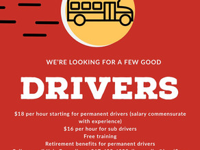 We're Looking for a Few Good Bus Drivers!