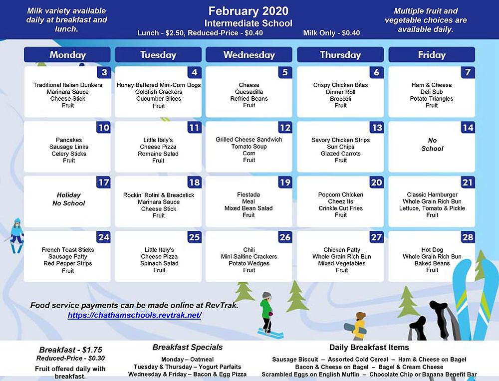 February Menu for GIS