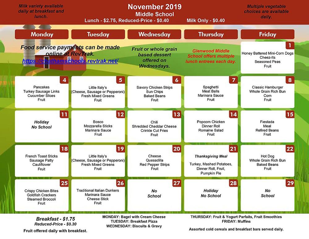 GMS November Menu