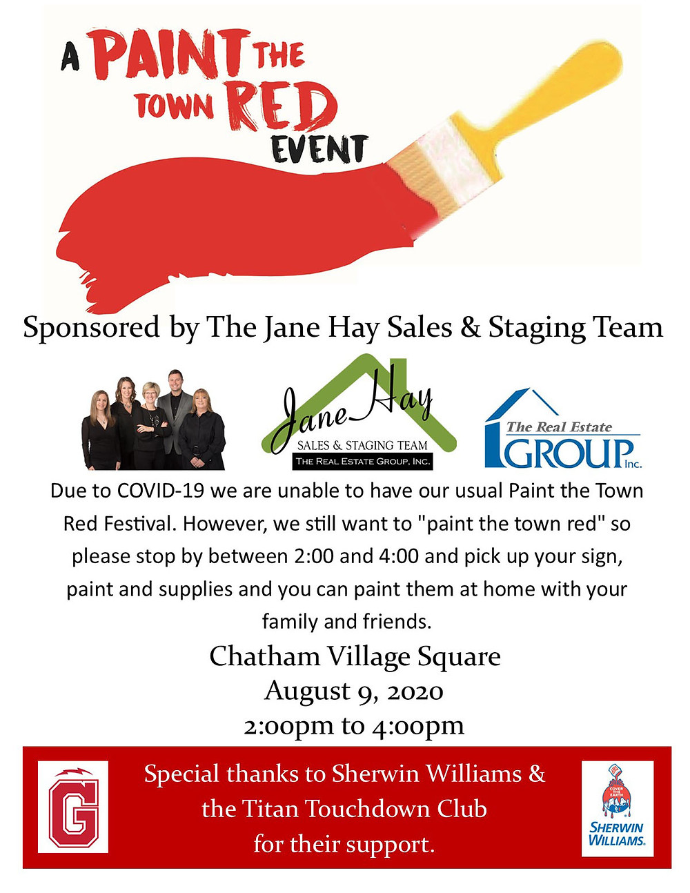 Paint the Town Red Event August 9, 2-4 p.m., Chatham Village Square