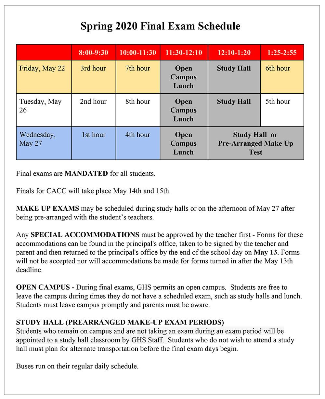 GHS Final Exam Schedule