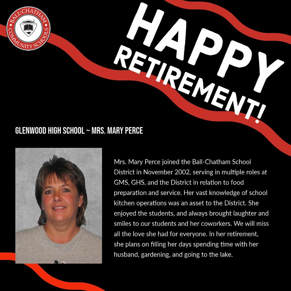 Mary Perce retirement graphic