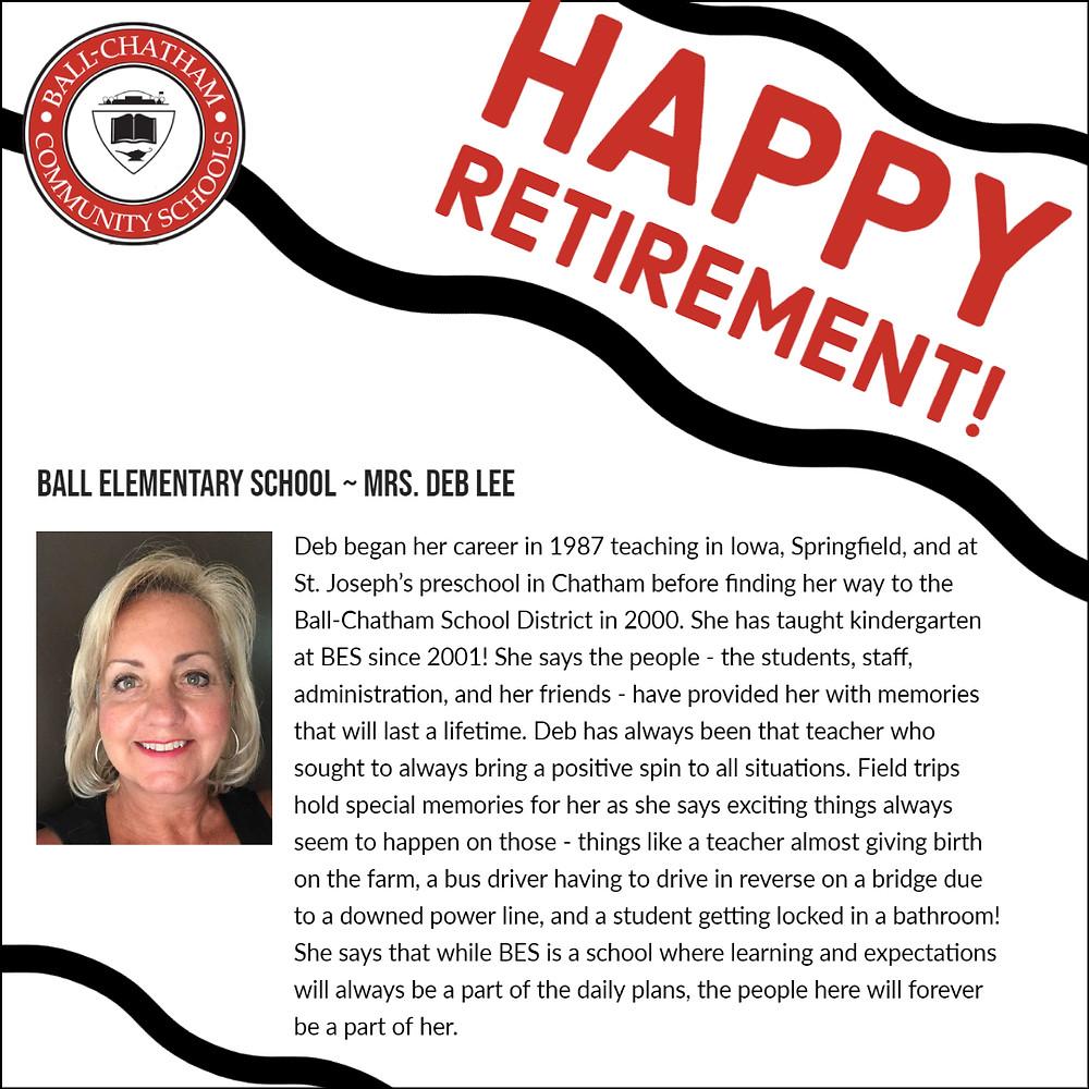 Deb Lee retirement graphic