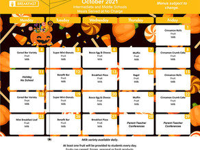 October Breakfast/Lunch Menus for GIS