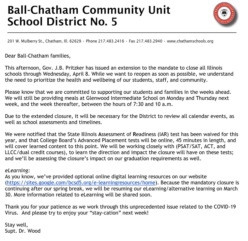 Ball-Chatham Parent Update #9