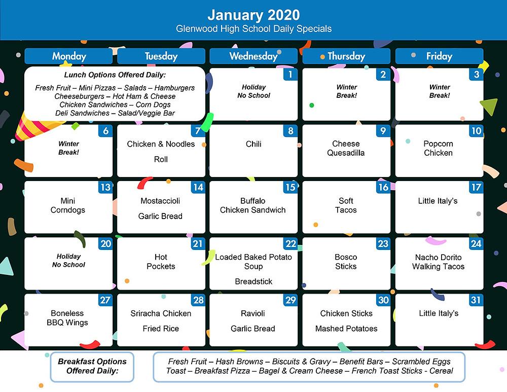 January Menu for GHS