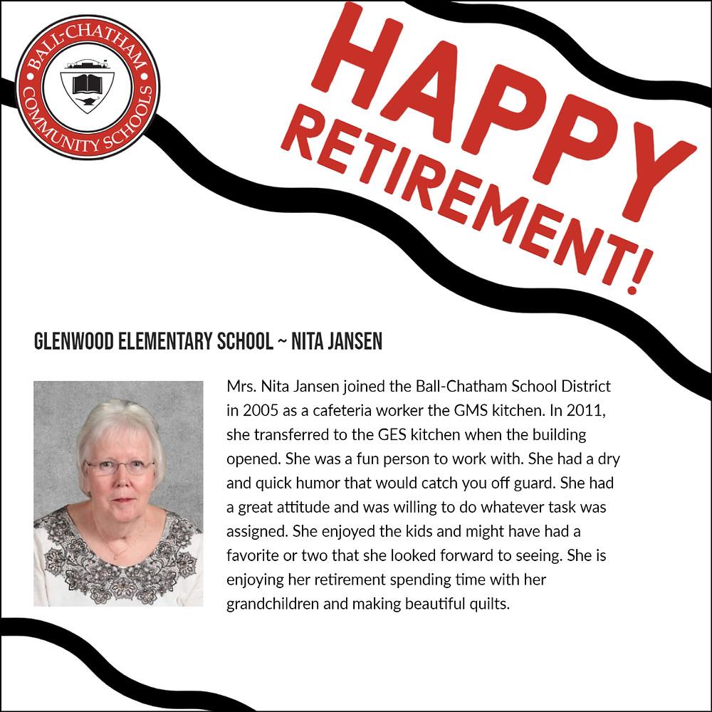 Nita Jansen's retirement graphic